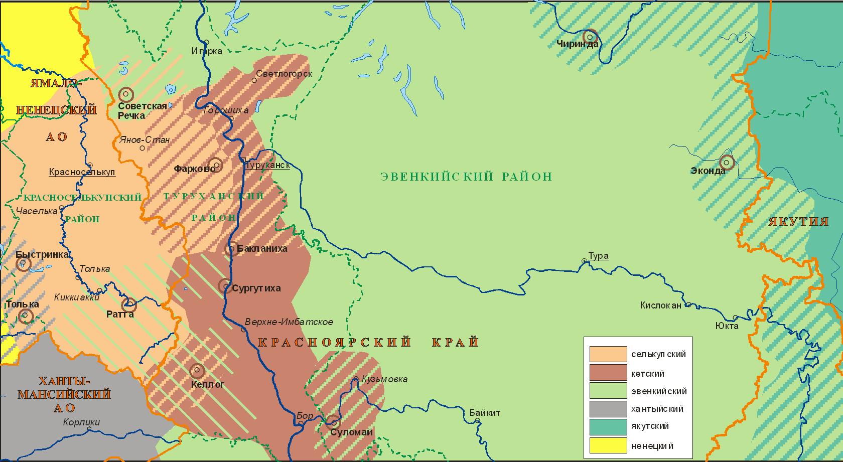 Языки Среднего Таза - Среднего Енисея (1900); автор Ю.Б.Коряков