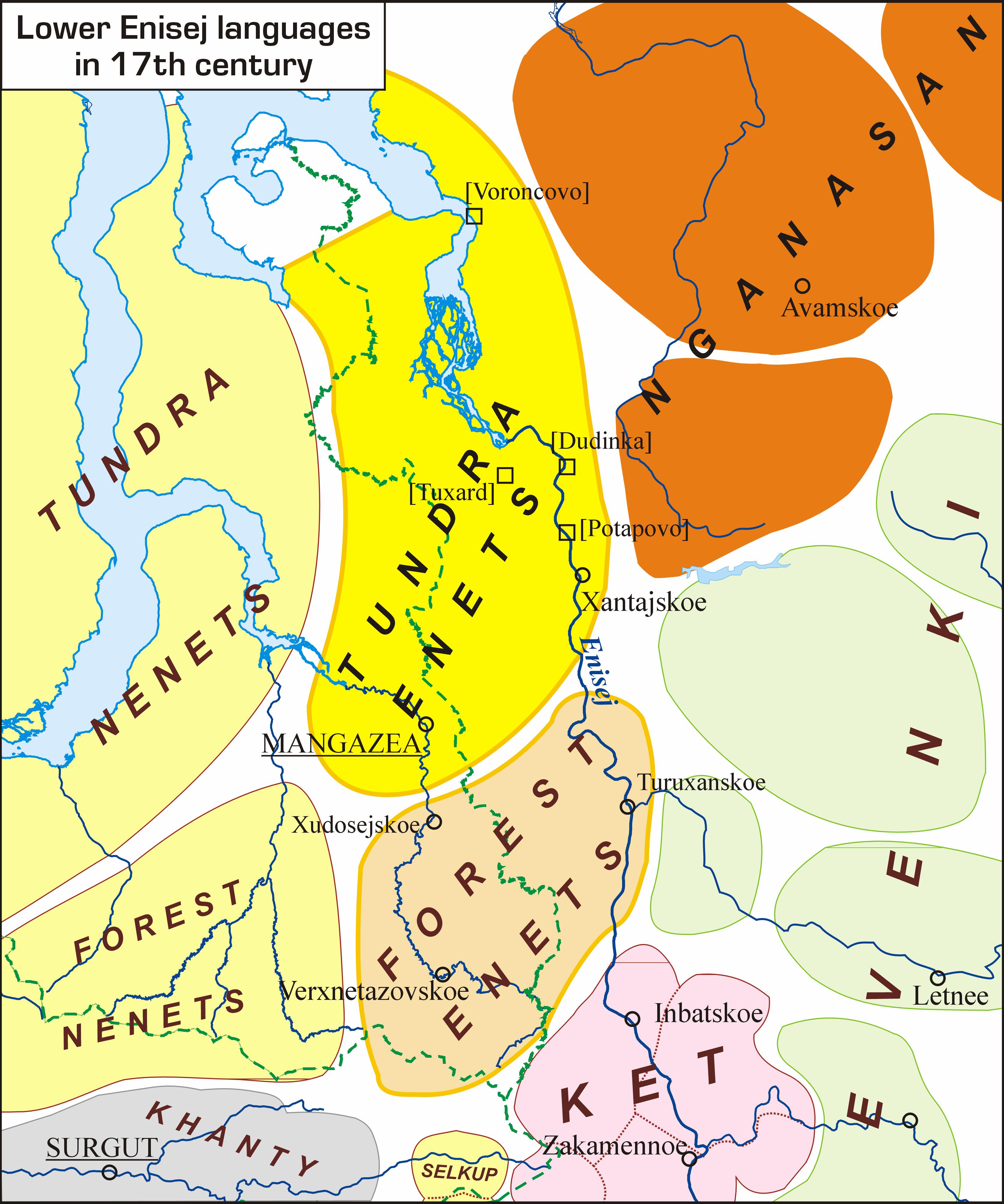 Languages of Lower Enisej and adjacent areas (17th century); авторы Ю.Б.Коряков, О.В.Ханина