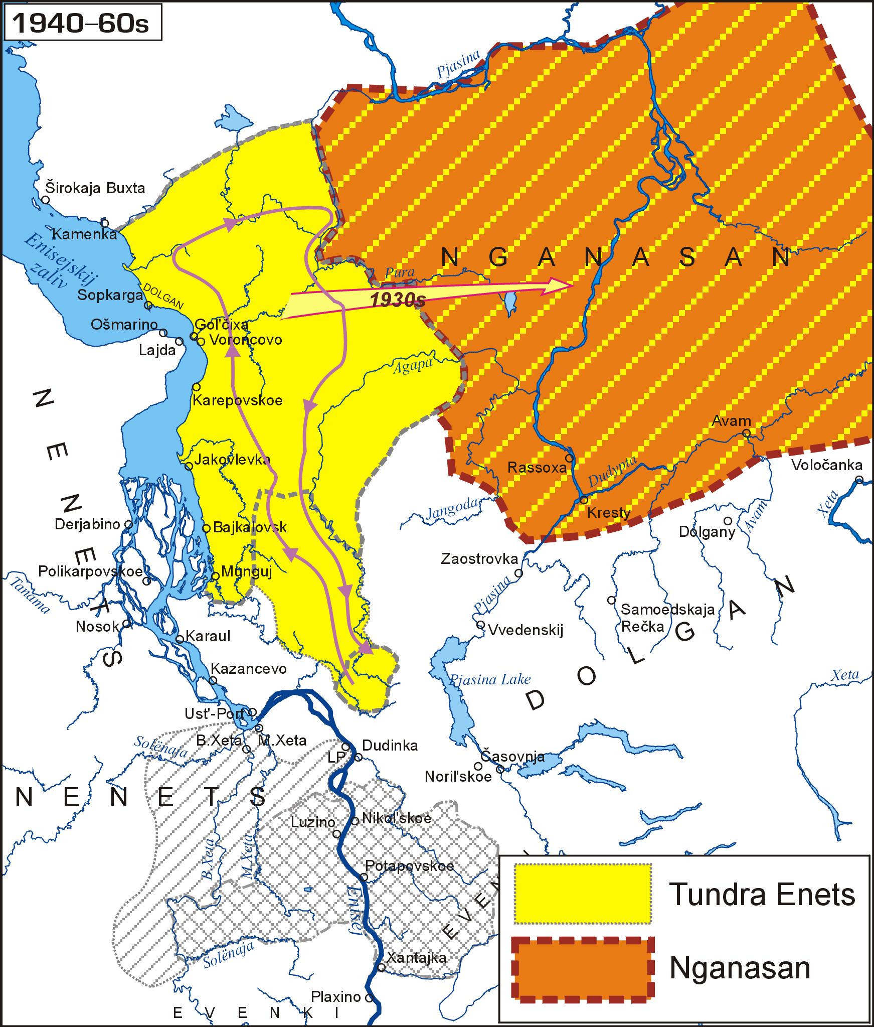 The Enets and the Nganasan languages (1940–60s); авторы Ю.Б.Коряков, О.В.Ханина