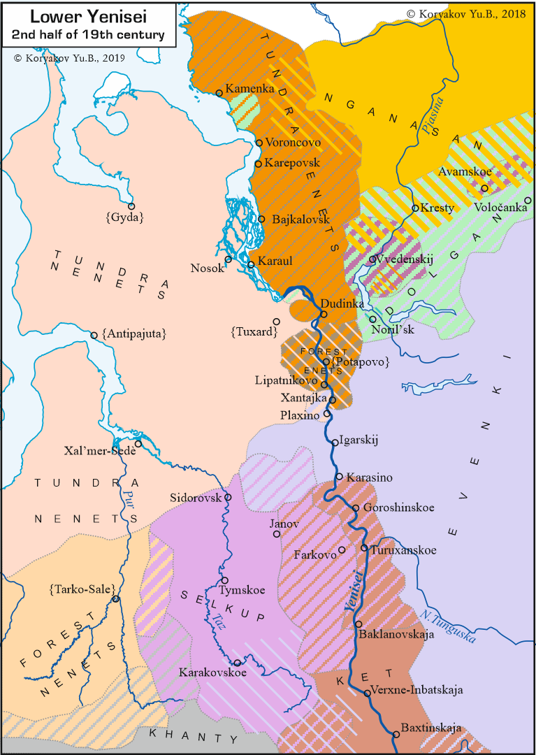 Lower and Middle Yenisei in 17th century
